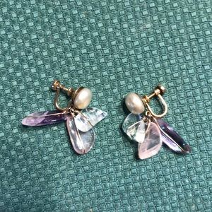 Vintage pearl and quartz gold filled earrings